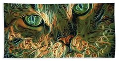 Psychedelic Tabby Cat Art Beach Towel by Peggy Collins