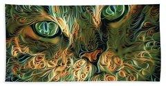 Psychedelic Tabby Cat Art Beach Towel