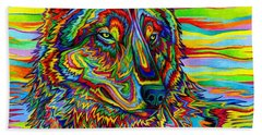 Psychedelic Wolf Beach Towel
