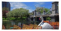 Public Garden Swan Boat In The Spring Boston Ma Beach Towel