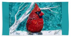 Pudgy Cardinal Beach Towel by T Fry-Green