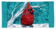 Pudgy Cardinal Beach Sheet by T Fry-Green