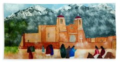 Pueblo Church Beach Towel by Joseph Frank Baraba