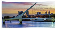 Puerto Madero At Twilight 2 Beach Towel by Bernardo Galmarini
