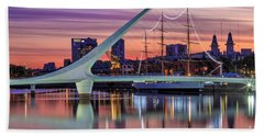 Puerto Madero At Twilight Beach Towel by Bernardo Galmarini