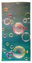 Puffer Fish Bubbles Beach Towel