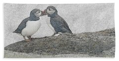Puffins Kissing Beach Towel