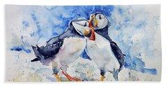 Puffins Beach Towel by Kovacs Anna Brigitta