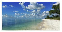 Puffy White Clouds At Delnor-wiggins Beach Towel