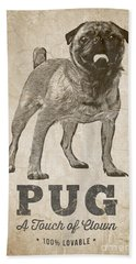 Pug A Touch Of Clown Beach Towel