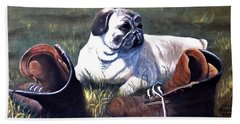 Pug And Boots Beach Towel