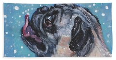 Pug In The Snow Beach Towel