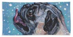 Pug In The Snow Beach Sheet
