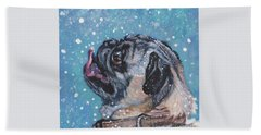 Beach Towel featuring the painting Pug In The Snow by Lee Ann Shepard