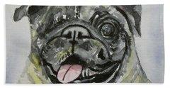 One Eyed Pug Portrait Beach Sheet