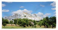 Puglia White City Ostuni With Olive Trees Beach Towel