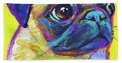 Beach Towel featuring the painting Pugsly, A Closer Look by Robert Phelps