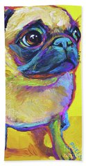 Beach Towel featuring the painting Pugsly by Robert Phelps
