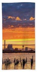 Pulp Mill Sunset Beach Towel by Greg Nyquist