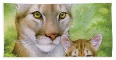 Puma And Cub Beach Towel