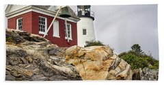 Pumphouse And Tower, Pemaquid Light, Bristol, Maine  -18958 Beach Towel