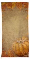 Pumpkin And Maple Leaves Beach Towel