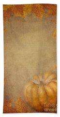 Pumpkin And Maple Leaves Beach Sheet