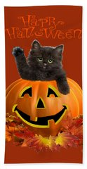 Pumpkin Kitty Beach Towel