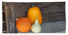 Pumpkin On A Bench Beach Sheet by Catherine Gagne