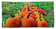 Pumpkin Patch Beach Towel by Dale R Carlson
