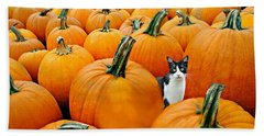 Pumpkin Patch Cat Beach Towel