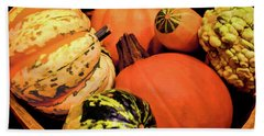 Pumpkins And Gourds Beach Sheet by Sandi OReilly