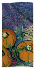 Beach Towel featuring the painting Pumpkins And Wheat by Erin Fickert-Rowland