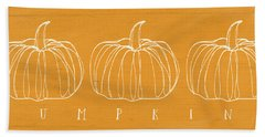 Pumpkins- Art By Linda Woods Beach Sheet by Linda Woods