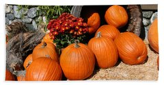 Beach Towel featuring the mixed media Pumpkins- Photograph By Linda Woods by Linda Woods