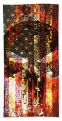 Punisher Skull On Rusted American Flag Beach Towel by M L C