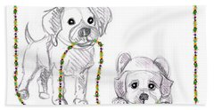 Puppies Greeting Card Beach Towel