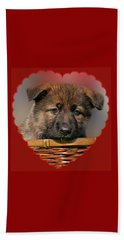 Beach Towel featuring the photograph Puppy In Red Heart by Sandy Keeton