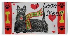 Beach Sheet featuring the painting Puppy Love by Diane Pape