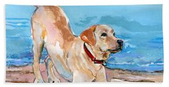 Puppy Pose Beach Sheet by Molly Poole