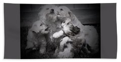 Puppy Vignette Beach Towel