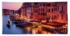 Cityscape From The Rialto In Venice, Italy Beach Towel