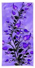 Purple Abstract Flowers Beach Towel