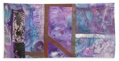 Beach Towel featuring the mixed media Purple Abstract by Riana Van Staden