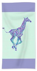 Purple And Aqua Running Baby Giraffe Beach Towel