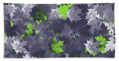 Purple And Green Leaves Beach Sheet by Methune Hively