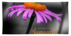 Purple And Orange Coneflower With Sympathy Beach Towel