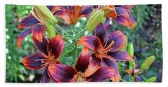 Purple And Orange Tiger Lily Beach Sheet