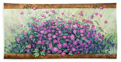 Purple And Pink Flowers Beach Towel