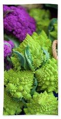 Purple And Romanesco Cauliflower Beach Towel